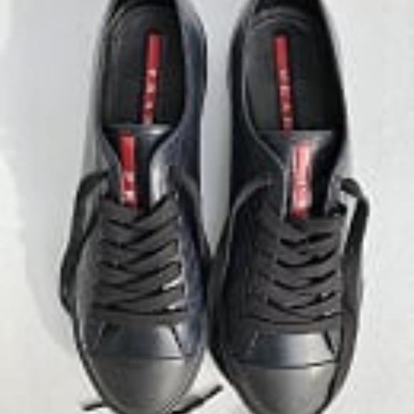 Prada Mens Black Leather Sneaker Size 7